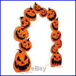 106 in. 210 Warm White LED Lights Pumpkin Arch with 16-Function