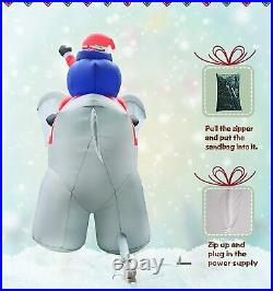 10.5 Ft Christmas Inflatable Huge Elephant with Santa Decoration Lighted Blowup