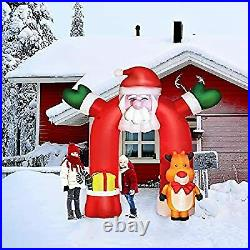 10.7Ft Inflatable Christmas Decoration, Santa Outdoor Decorations with Elk LED