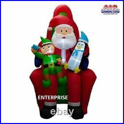 10'FT HUGE SANTA CLAUS IN CHAIR With ELF & PENGUIN AIRBLOWN INFLATABLE YARD DECOR