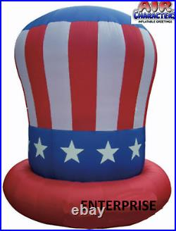 10' FT PATRIOTIC UNCLE SAM 4TH JULY HAT AIRBLOWN INFLATABLE YARD LIGHTED Decor