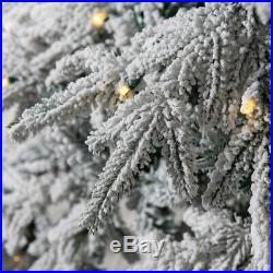 1100 Tips 400 LED Lights 7FT Artificial White Christmas Tree Flocked Snow Tree