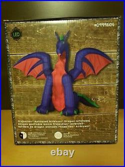 11 ft Inflatable Purple Fire Ice Dragon Halloween Airblown Decor Lighted Yard