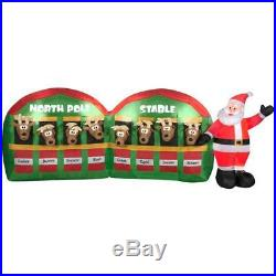 11 ft Santa Stable with 8 Reindeer Airblown Inflatable Outdoor Christmas