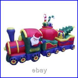 12' Air Blown Inflatable Christmas Train with Santa, Presents, and Christmas Tree
