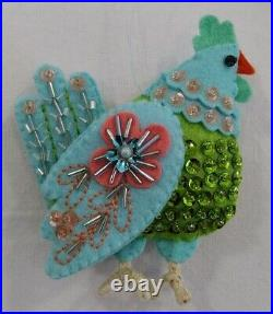 12 Days of Christmas Hand Made beaded and sequined felt Ornaments set of 14