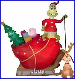 12' Gemmy Airblown Inflatable Colossal Grinch In Sleigh with Max Yard Decoration
