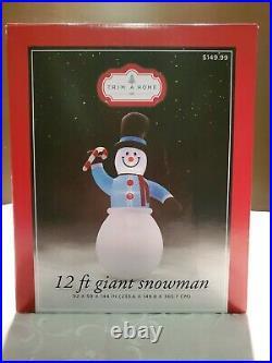 12' Snowman & Candy Cane Gemmy Christmas Yard Frosty Inflatable Gemmy