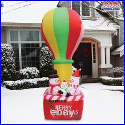 12'ft Christmas Snowmen In Hot Air Balloon Airblown Inflatable Lights Yard Decor