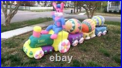 14' Air Blown Inflatable Easter Bunny Eggs Train Lighted Yard Decor IN STOCK