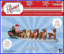 17.5 Ft Huge Rudolph And Santa Sleigh Airblown Inflatable New In Box