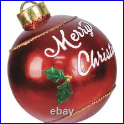 17in Red Merry Christmas Vintage Ball Ornament Indoor/Outdoor Holiday Decoration