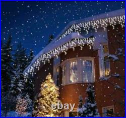 200 LED 3.9m BATTERY OPERATED SNOWING EFFECT ICICLE LIGHTS XMAS CHRISTMAS PARTY