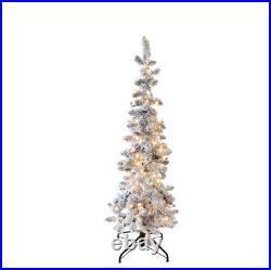206 Tips 150 Clr Lts 20 Girth RAZ M3652016 4.5' PRE-LIT FLOCKED PENCIL TREE