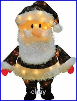 24 Pre-Lit Santa Claus in Camo Christmas Outdoor Yard Decoration Clear Lights