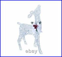 28 Lighted Silver White Fawn Deer Sculpture Outdoor Christmas Yard Decor Lawn
