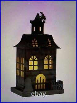 2 Pc Pottery Barn Haunted Halloween Houses Metal Small Medium NiB