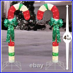 2 Piece 48 Lighted Candy Canes With Bows Christmas Yard Decorations