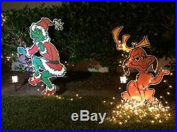 2 SIDED GRINCH Stealing CHRISTMAS Lights Decoration & Max the Dog too! Free Ship