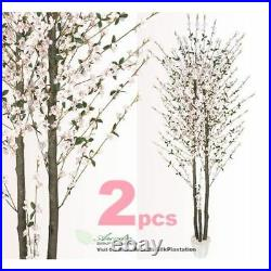 2 Very Full Cherry Blossom 7' Real Wood Artificial Trees Potted P