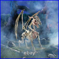 2 pc Halloween Unicorn Dragon Prop Skeleton Outdoor Yard Decoration Scary Decor