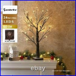 2ft Snowy Effect Warm White Twig Tree Christmas XMAS Decoration 60cm