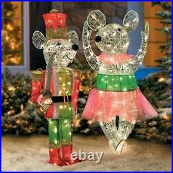 36 Christmas Lighted Nutcracker Mouse & Ballerina Mouse Yard Decor Set of 2