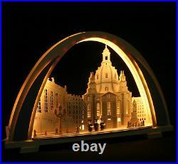 3D LED Schwibbogen New-Line modern 53cm Frauenkirche Dresden Erzgebirge Neuheit