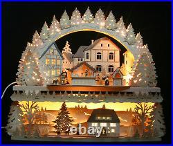 3D-Räucher- Schwibbogen 58cm Weihnachtsbäckerei + Unterbank Erzgebirge Neu 2019