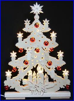 3D-Schwibbogen LED Tanne Tannenbaum mit Kugeln 44cm Erzgebirge Weihnachten Holz