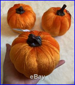 3 Pc Pumpkin Orange Fall Thanksgiving Halloween Decor Small