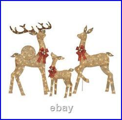 3 Piece LED Lighted Reindeer Family Deer Buck Doe Outdoor Christmas Yard Decor