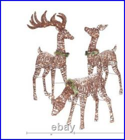3-Piece Reindeer Outdoor Lawn Set Christmas Holiday Decoration 210 Clear Lights