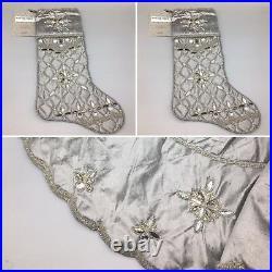 3pc Kim Seybert SILVER 62 Christmas Tree Skirt 2 Stocking Set Beaded Designer