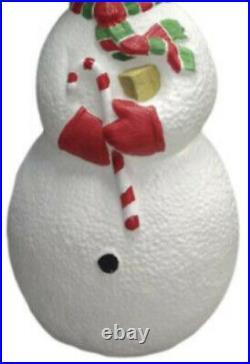 40 Lighted Cheerful Snowman Blow Mold Fun Christmas Porch Yard Holiday Decor