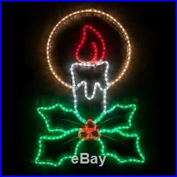 40 Outdoor Christmas Candle LED Rope Light Lighted Christmas Yard Decoration