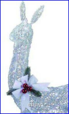 42 Prelit LED White Silver Standing Doe Sculpture Christmas Porch Yard Decor