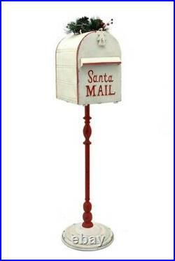 42 Tall Metal Standing Santa's Mail Christmas Mailbox with Light-up LED Wreath