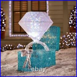 46 Lighted LED Twinkling Diamond Ring Gift Box Sculpture Christmas Yard Decor