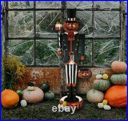 48 inch Illuminated Metal Pumpkin Soldier Indoor/Outdoor Oversized Decor