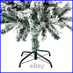 4FT Artificial Christmas Tree Snow Flocked Xmas Pine Tree Holiday withMetal Stand