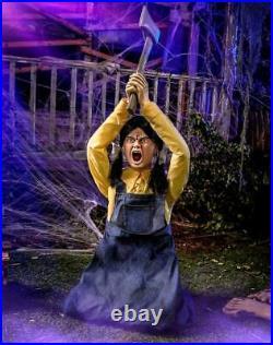 4.3' Murderous Hatchet Girl Motion Activated Animatronic Halloween Decoration