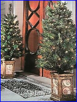 4 FOOT 2 Pc PORCH TREES LIGHTED CHRISTMAS HOLIDAY INDOOR OUTDOOR DECOR
