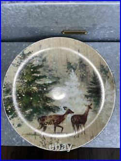 4 Four Pottery Barn Deer In Snow Reindeer Pine Trees Salad Plates