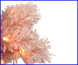 4'Ft Flocked Pink Pre-Lit Artificial Christmas Tree