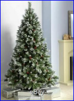 4ft 5ft 6ft Scandinavian Frosted Spruce Christmas Pine Cones Tree & Red Berries