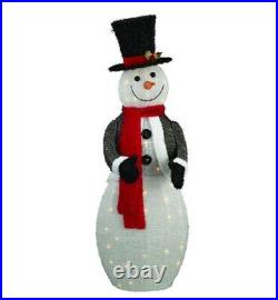52 Lighted Snowman With Top Hat Sculpture Outdoor Christmas Yard Decor Display