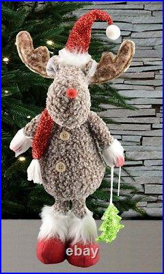 56cm Standing Rudolf With Santa Pompom Hat Christmas Home Decoration
