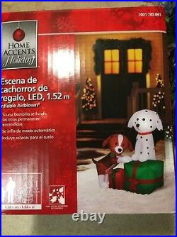 59 Santa Puppy Dogs On Christmas Gifts Lighted Airblown Inflatable Yard Decor