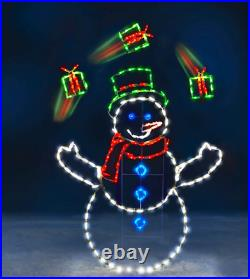 5' ANIMATED JUGGLING Gifts Snowman LED Commercial Quality Christmas Yard Show